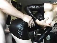 Latex young cosset gets doggy fucked..